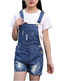 Kedera Big Girl's Casual Denim Overalls Bib Toddler Jeans Outwear Cowboy Shorts