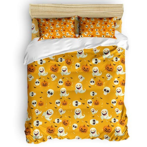 King Size 4 Pieces Kids Duvet Cover Set for Girls Boys,with 1 Flat Sheet + 1 Duvet Cover + 2 Pillowcases,Soft and Comfortable Bedding Set,Halloween Pumpkin Ghost and Skull Bed -