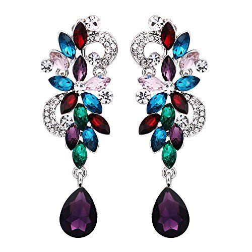 BriLove Wedding Bridal Clip On Earrings for Women Bohemian Boho Crystal Flower Chandelier Teardrop Bling Long Dangle Earrings Colorful Multicolor Silver-Tone