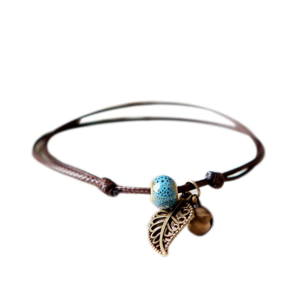 Donne Ragazze in ceramica braccialetto di perline in Lovers Hollow Foglia Boemia polso del foglio di ornamenti Bangle