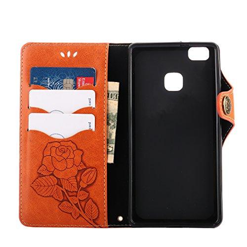 Porta P9lite Per Portafoglio Loguh21069 Credito Chiusura Lomogo Carta Magnetica Cover P9 Arancio In Pelle Annata Rosa Custodia Con Lite Huawei Di wvU0qT