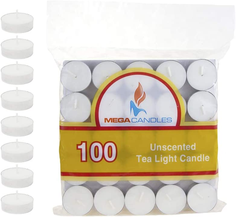 Mega Candles 100 pcs Unscented White Tea Lights Candle, Pressed Wax Candles 3.5 Hour Burn Time, for Home Décor, Wedding Receptions, Baby Showers, Birthdays, Celebrations, Party Favors & More