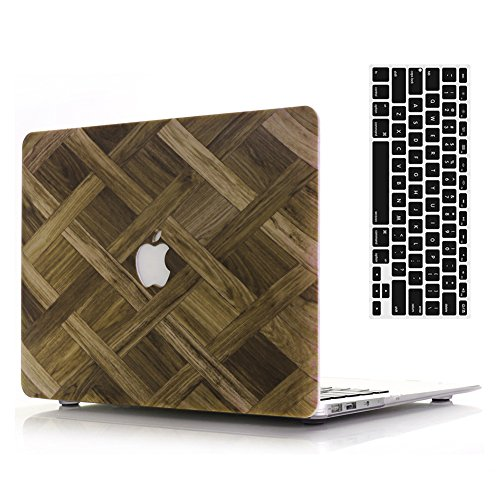 Case Checkers Protector (MacBook Air 11''Case and Keyboard Cover,AICOO Painted Hard Case Cover with Keyboard Protector for Laptop Apple MacBook Air 11.6 inch (A1465/A1370,Wood Grain Checker)