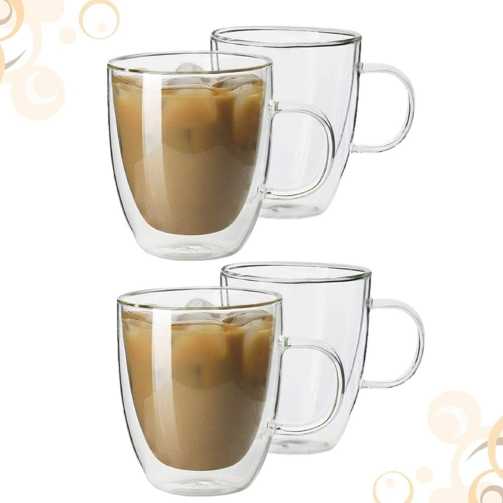 Homvare Coffee Mugs, Double Walled Borosilicate Glass Insulated Mug Set with Handle Suitable for Both Hot and Cold Beverage, 12 oz - 4 Pack