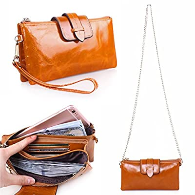 Itslife Women's Leather Smartphone Wristlet Clutch Wallet with Shoulder Chain Bag