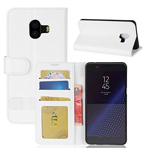 La cubierta de la caja de la cartera del teléfono para Samsung C10. GOGME Samsung C10 Flip Funda Funda para Teléfono, Premium PU Cartera de Cuero Conector para Celular, Celular Skin Poche Magnéticas C blanco