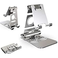 3 in 1 Alloy Tablet Stand Portable Mobile Phone Stand Holder, Dual Foldable Phone Stand Mount Compatible with iPhone and…