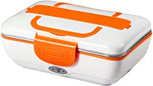 LEESTAR Portable Food Heater Electric Lunch Box Bento Box Car/Truck Office School Home Removable 304 Stainless Steel 1.5L Container 110V & 12V-24V 40W Spoon Fork and Chopsticks Included(orange)