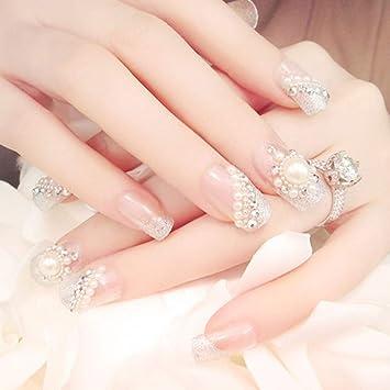 Qulin, uñas postizas con pegamento para niña, perlas de imitación ...