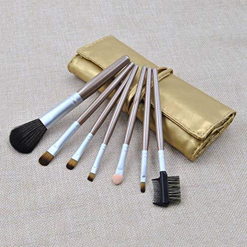 7Pcs Makeup Brush Set Tools Fiber Wool Brushes Eyeshadow Brush Lip Blush Kit (Color - Gold)