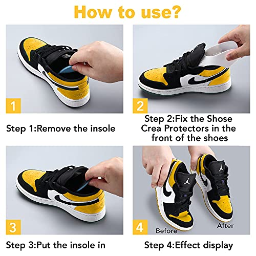 Upgrade 2 Pairs NURWOUE Sneaker Shoes Crease Guards, 2 Layers Against Shoes Creases, Anti-Wrinkle Shoes Crease Protectors, TPU & GEL Material with Anti-Slip and Aromatic Effects for US Size 5.5-12