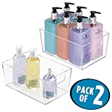 mDesign Bathroom Organizer Storage Bin with Built-In Handles for Organizing Hand Soaps, Body Wash, Shampoos, Conditioners, Hand Towels, Hair Accessories, Body Spray, Mouthwash -Pack of 2, Small, Clear