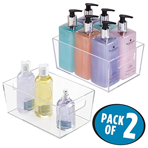 mDesign Bathroom Organizer Storage Bin with Built-In Handles for Organizing Hand Soaps, Body Wash, Shampoos, Conditioners, Hand Towels, Hair Accessories, Body Spray, Mouthwash -Pack of 2, Small, Clear by mDesign