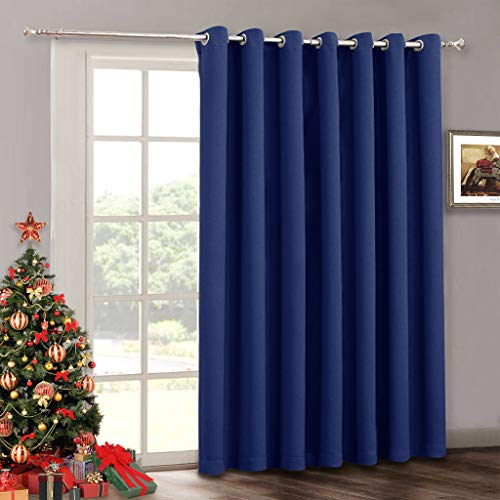 RYB HOME Wide Vertical Insulated Blind Curtain - Furniture Protecting Indoor Outdoor Patio Door Drape with Eyelet Top Blackout Curtains Panel for Sliding Glass Door/Gazebo, 100 x 84 Inch, Navy Blue