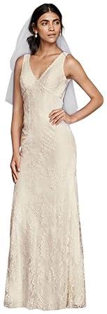636c3e4415 Flower Lace V-Neck Wedding Dress with Empire Waist Style KP3783, Ivory, 0