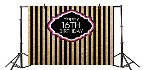 Yeele 5x3ft 16th Birthday Party Backdrop Sweet Sixteen Birthday Party Gold and Black Vertical Stripes Decoration Banner Home Photography Background Boy Girl Portraits Photo Booth Shoot Props ()