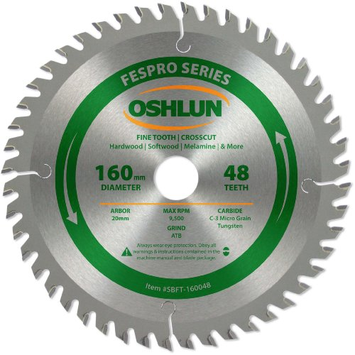 Oshlun SBFT-160048 160mm 48 Tooth FesPro Crosscut ATB Saw Blade with 20mm Arbor for Festool TS 55 EQ, DeWalt DWS520, and Makita SP6000K (Cross Fine Kerf Thin Cut)