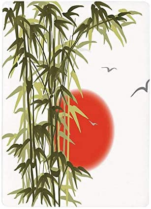 壁紙 絵画風ポスター (はがせるシール式) 竹の装飾、夕日を背景に抽象的な竹デザイン鳥と太陽の画像印刷、40x60cm 自己接着性 取り外可能 [壊れ目]
