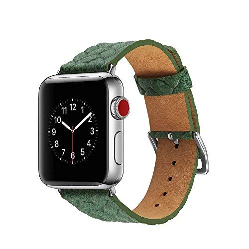 لوازم جانبی ساعت مچی دستبند دستبند جایگزین باند چرمی Leless Leather Leather بند بند لوازم جانبی ساعت هوشمند اپل ساعت 38/42 میلی متر ساعت هوشمند برای تعویض مد مردانه زنانه (42MM ، سبز)