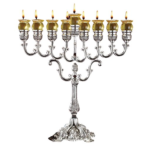 - Ner Mitzvah Silver Plated Oil Menorah - Fits Standard Chanukah Small Oil Cups and Large Candles - Olive Branches - 13