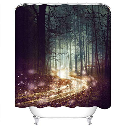 Wesbin Shower Curtain Set Fantasy Forest Firefly Lights Magic Colored Woodland Fairy Tale Dreamy F Bathroom Decor Set with 12 Hooks 72X78 Inches Waterproof Polyester Fabric Shower Curtain for Bathroom -