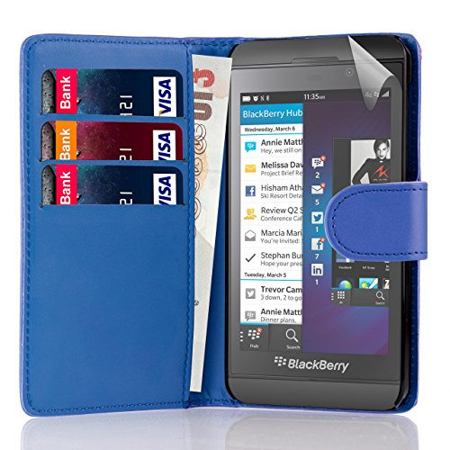 32nd Book Style Wallet PU Leather Flip Case Cover for BlackBerry Z10 - Deep Blue
