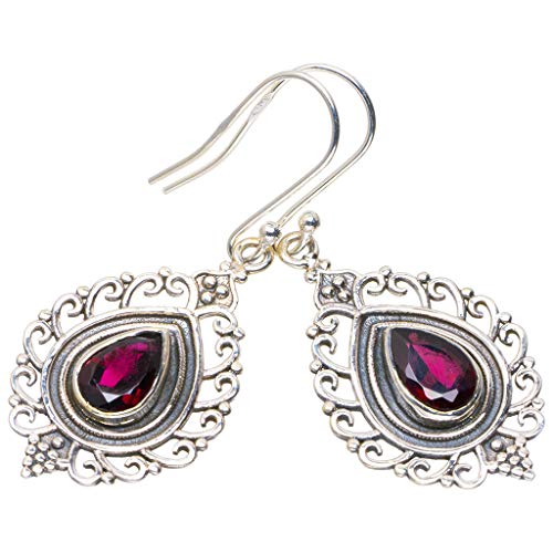 Womens Shirt Garnet (Natural Garnet Handmade Unique 925 Sterling Silver Earrings 1.75