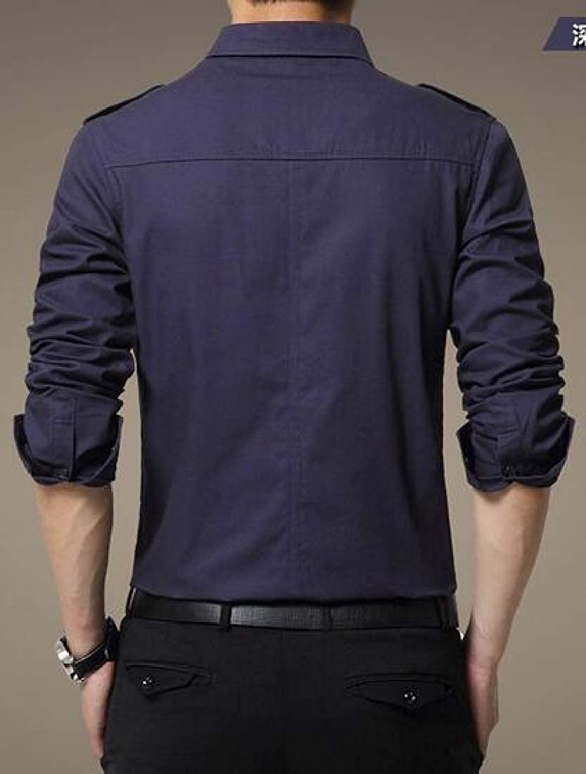 Domple Men Casual Business Solid Slim Fit Cotton Button Up Long Sleeve Cargo Shirt