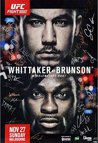 "UFC Fight Night 101 Whittaker vs. Brunson Autographed 27"" x 39"" 26-Signature Fight Poster - Fanatics Authentic Certified"