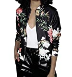 #8: Lapiness Women's Bomber Jacket Quilted Floral Print Lightweight Short Casual Coat