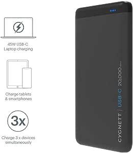 CYGNETT CHARGEUP PRO USB-C 20,000mAh USB-C Power Bank in Black