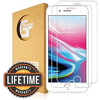 """iPhone 8, 7, 6s, 6 Screen Protector (2 Pack) G-Armor - Tempered Glass Screen Protector, Ultra Clear HD Screen Guard, Scratch & Shatter Proof Protection Screen Cover, Only for 4.7"""" iPhone 8, 7, 6s, 6"""