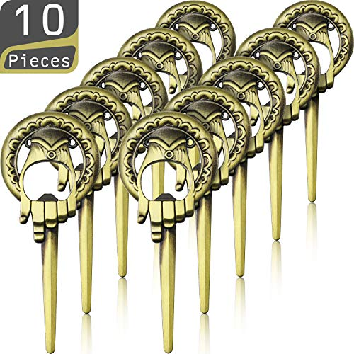 10 Pieces Hand of King Bottle Opener Game Style Bottle Opener, Easily Removes Bottle Caps and Opens Letters - Good Presents for All Occasions and Unique Party Favors (Gold)]()