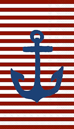 Ideal Home Range 32 Count 3-Ply Paper Guest Towel Napkins, Yacht Club Nautical Collection (Red Stripe Anchor)