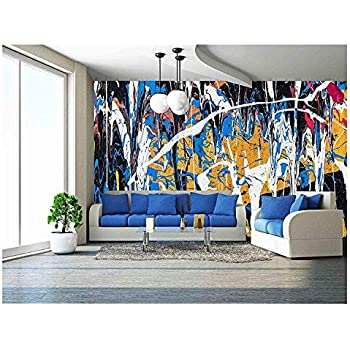 wall26 - Dripping Paint Graffiti Wall Close - Removable Wall Mural   Self-Adhesive Large Wallpaper - 100x144 inches