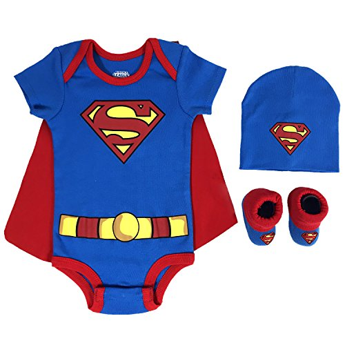 DC Comics Baby Boys Superman, Wonder Woman, Flash, Batman 3-pc Set in Gift Box, Blue, 0-6 -