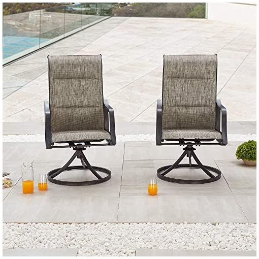 Garden and Outdoor LOKATSE HOME Outdoor Dining Swivel Chairs Patio Sling Rocker Chair with Steel Metal Frame (Set of 2), Grey