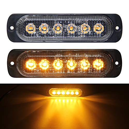 - Amber Led Strobe Lights Flush Mount Led light bar 6 LED Flash Caution Emergency Construction Waterproof 2pcs Pack 12V Flashing Led Warning Light Bar for Car Truck 1 Year Warranty (Amber Warning)