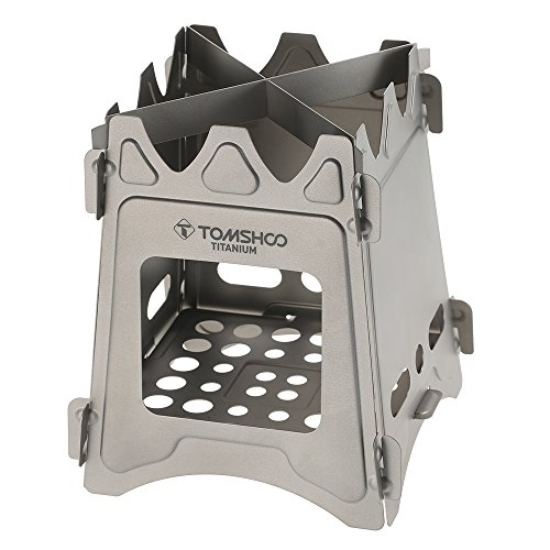 TOMSHOO Titanium Camping Stove Camp Wood Stove Portable Foldable Burning Backpacking Stove for Outdoor Hiking Picnic BBQ