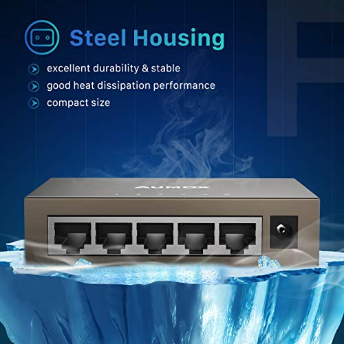 Aumox 5 Port Gigabit Ethernet Network Switch, Desktop, Unmanaged Ethernet Splitter, Durable Metal Casing, Traffic Optimization, Fanless Quite, Plug and Play(AM-SG205)