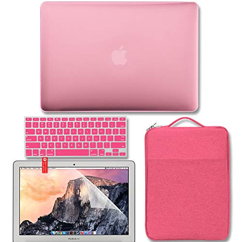 MacBook Air 13 Inch Case Bundle Older Version Compatible A1369 / A1466 2010-2017 Release NO Touch ID, GMYLE Hard Matte Shell, Pink Protective Sleeve, Keyboard Cover and Screen Protector - Pink ()