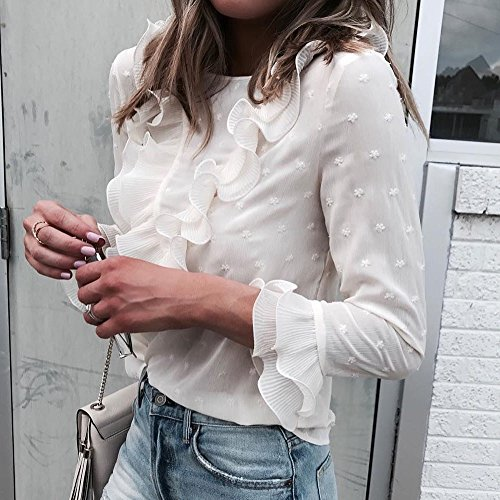 Masun Women Ladies Casual Lace Polka Dot O Neck T-Shirt Long Sleeve Tops Blouse Women Ladies Casual Lace T-Shirt White