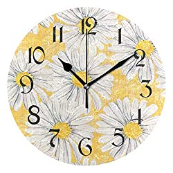 Tarity Silent Round Wall Clock, Daisies Flowers Decorative Quiet Non Ticking Battery Operated Art Wall Clocks for Living Room Bedroom Office Kitchen Kids