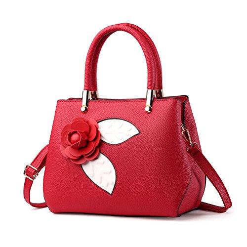 (BW New Elegant Red 3D Flower Handmade PU Top Handle Handbags Womens Tole Single Shoulder Bag)