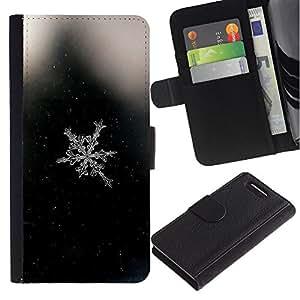 Stuss Case / Funda Carcasa PU de Cuero - Espacio Negro copo de nieve Negro - Sony Xperia Z3 Compact
