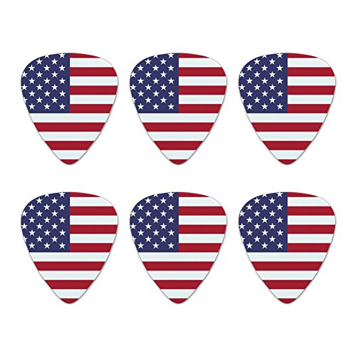 United States of America American USA Flag Novelty Guitar Picks Medium Gauge - Set of 6 (Guitar Pick Usa)