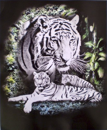 Two White Tigers Fleece Throw Blanket