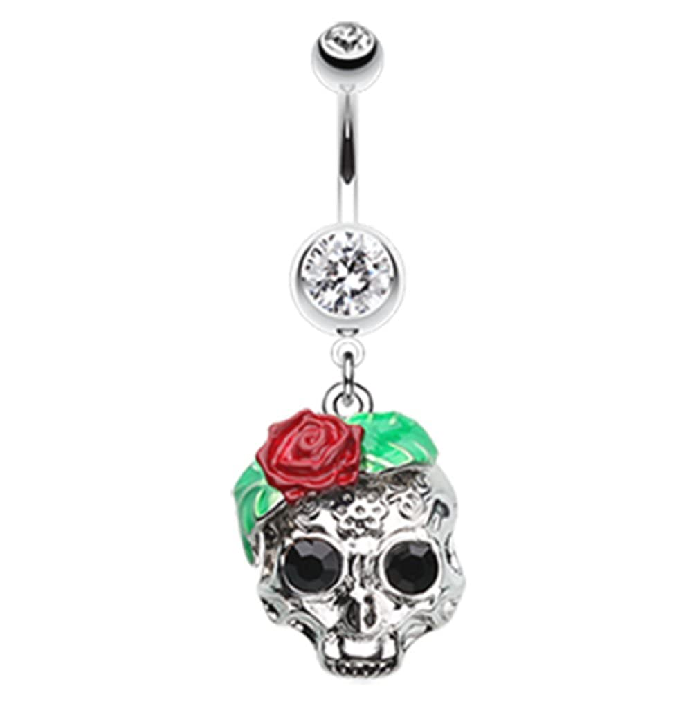Sold Individually Rose Ornate Sugar Skull 316L Surgical Steel Freedom Fashion Belly Button Ring