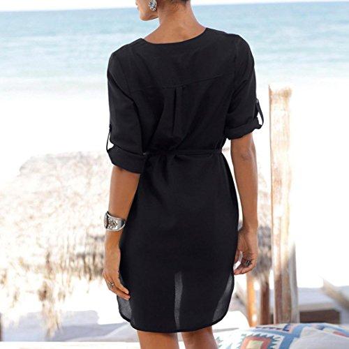 Mini Balze Chiffon Estivo Bohemien Vestito Dress Spiaggia Black Spiaggia Stampa Stampa Stellare Vacanza Manica Mini V a Scollo Sera Arruffato Gonna da Manica Abito Abito Manica Donna KOLY 1wCTqx0R