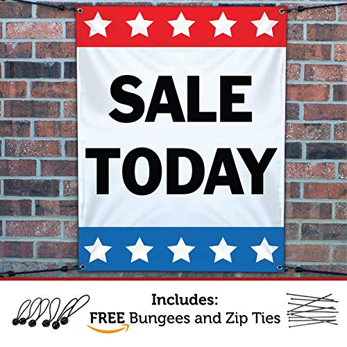 HALF PRICE BANNERS | Sale Today Vinyl Banner | Mesh Wind Resistant | 3'x2' Stars | Free Ball Bungees & Zip Ties | Easy Hang Promotional Advertising Sign | Business Retail | Various Sizes | Made in USA